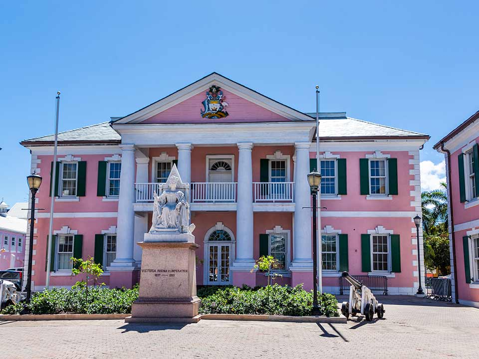 Bahamas Government Building in pink